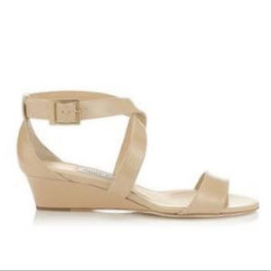 Jimmy Choo Chiara Patent Leather Nude Wedge Sandal